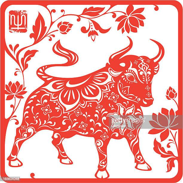 chinese year of the ox 2009 (red) - chinese zodiac sign stock illustrations, clip art, cartoons, & icons