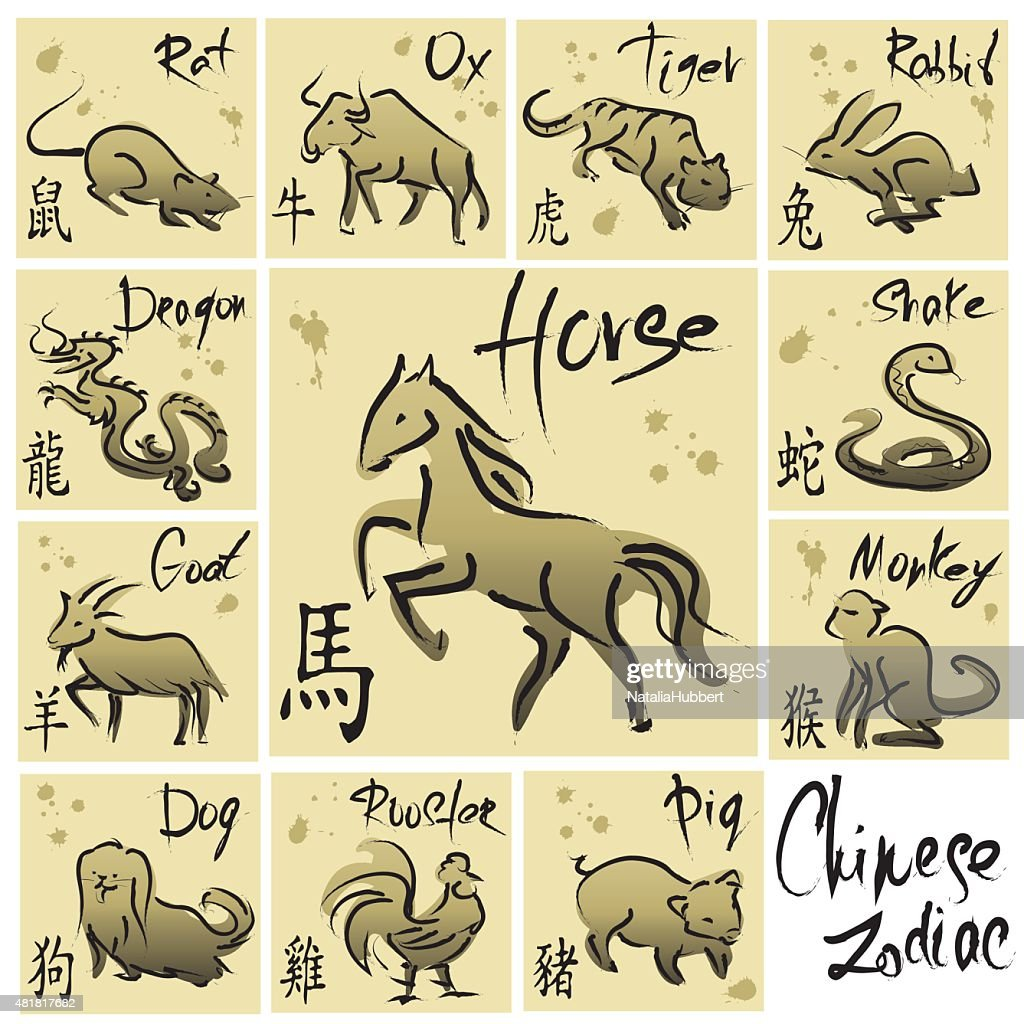 Chinese Zodiac 12 Animal Symbols Vector Art Getty Images