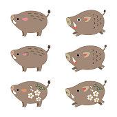 Chinese zodiac animal, cute boar, wild pig