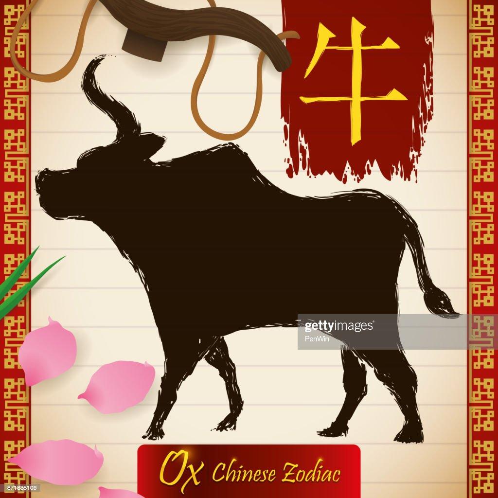 Chinese Zodiac Animal: Ox in Brushstrokes, Petals, Grass and Yoke