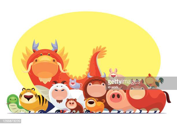 chinese zodiac animals meeting - year of the sheep stock illustrations