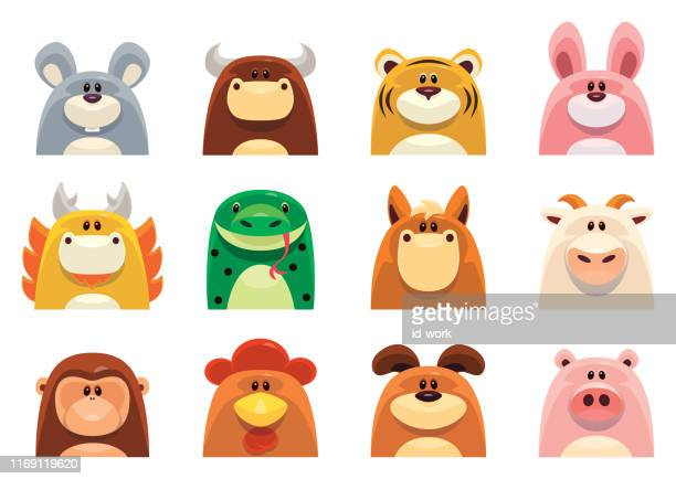 chinese zodiac animals - cute stock illustrations