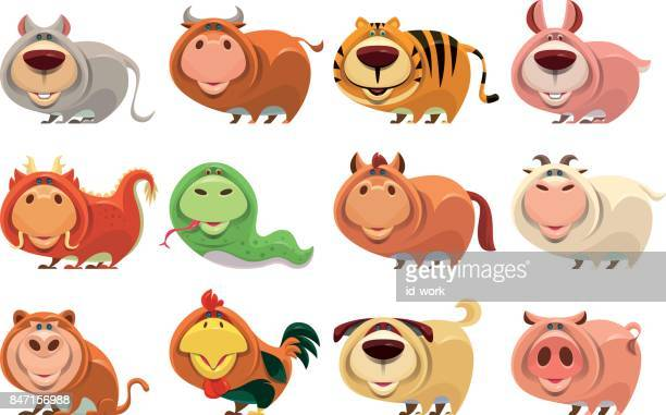 chinese zodiac animals - chinese zodiac sign stock illustrations, clip art, cartoons, & icons