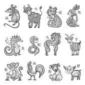 Chinese zodiac, cartoon style