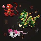Chinese Zodiac Mascots: Monkey, Dragon and Rat