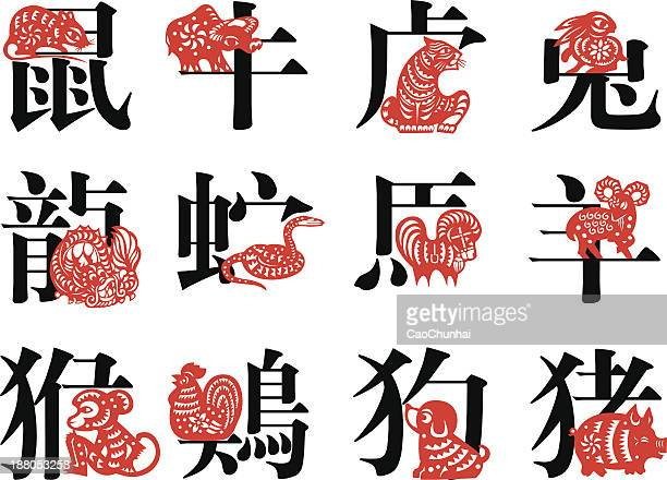 chinese zodiac sign for year - year of the sheep stock illustrations
