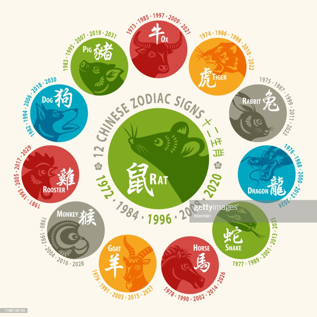12 Chinese Zodiac Signs : stock illustration