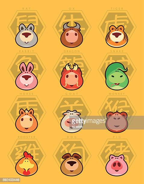 chinese zodiac signs - year of the sheep stock illustrations
