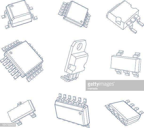 chip packages - electrical box stock illustrations