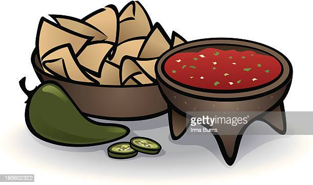 chips and salsa - nachos stock illustrations
