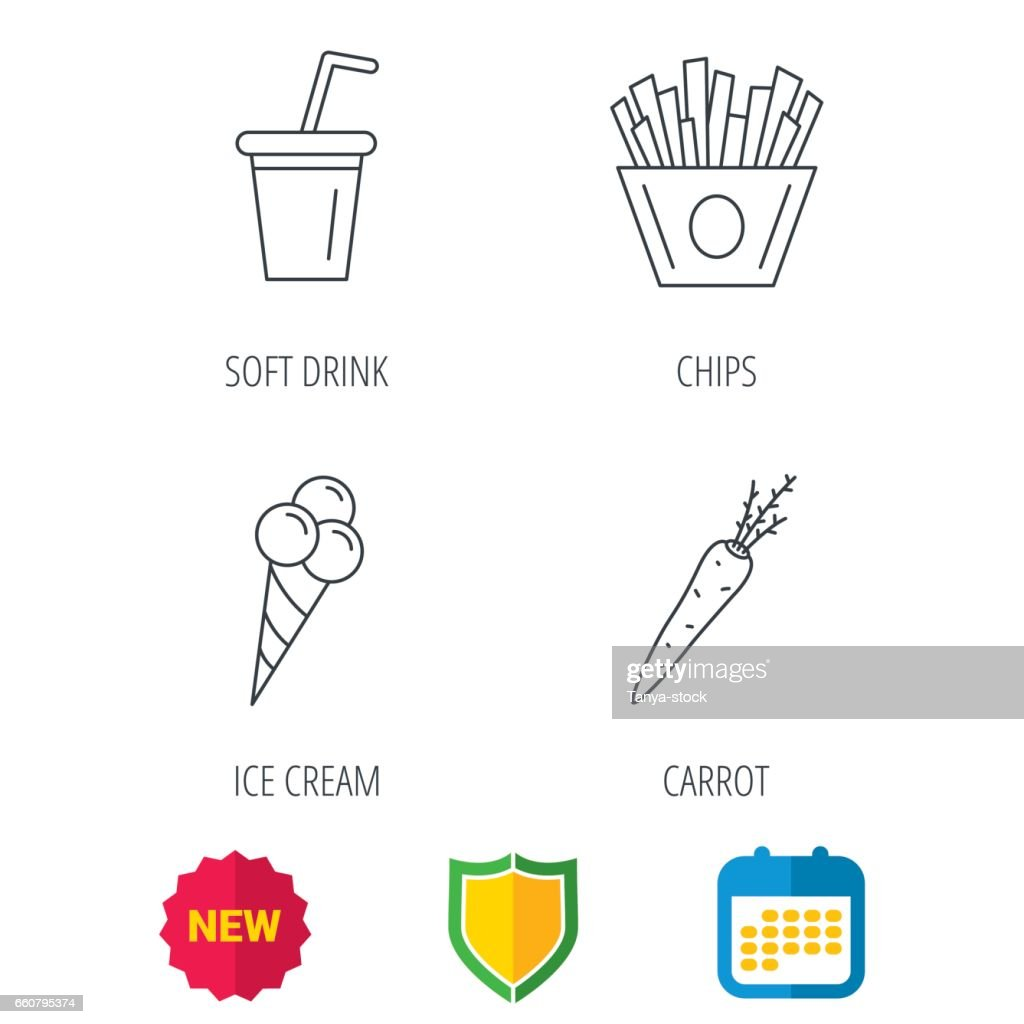 Chips fries, ice cream and soft drink icons.