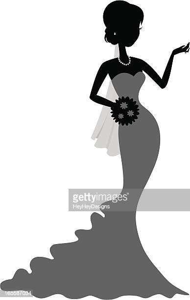 ilustraciones, imágenes clip art, dibujos animados e iconos de stock de chique poco novia - vestido de novia