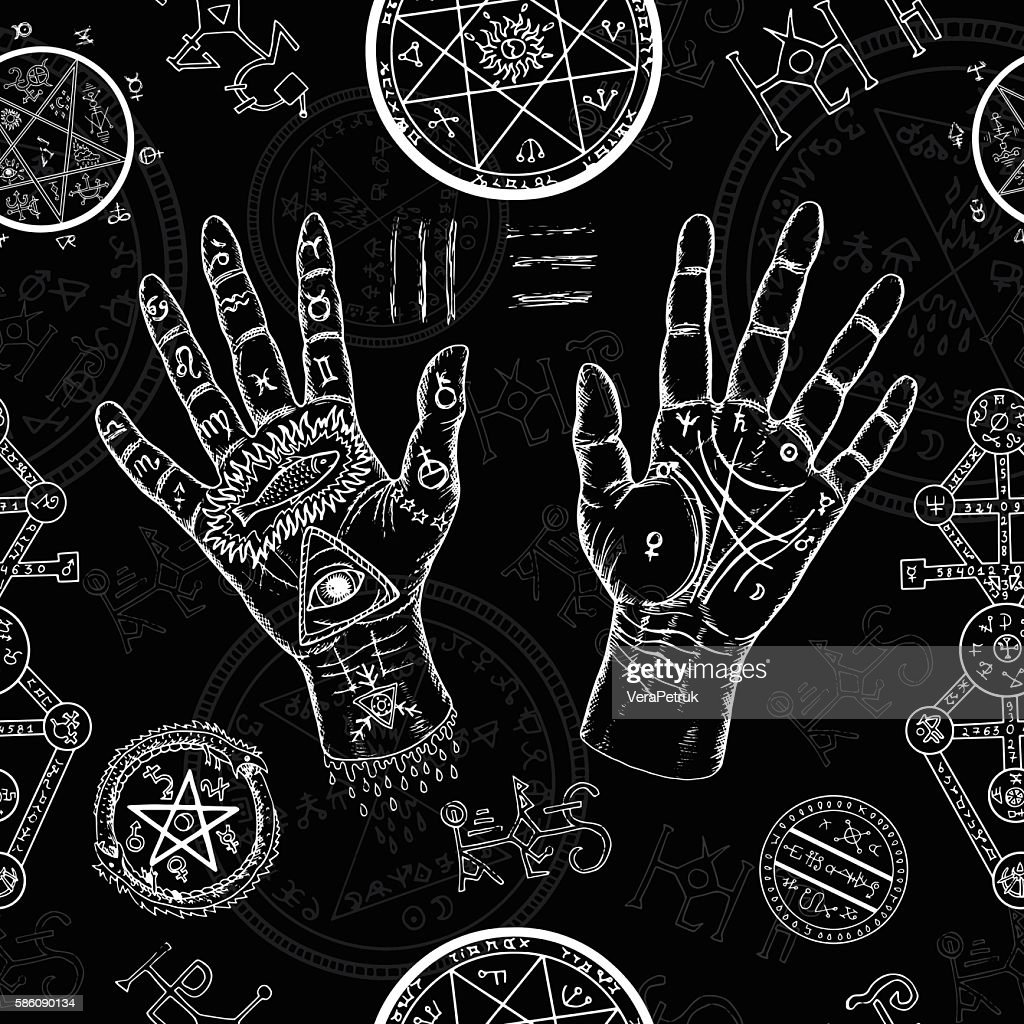 Chiromancy seamless background with human hands and mystic symbols