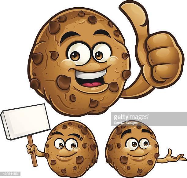 choco chip cookie cartoon set c - anthropomorphic foods stock illustrations, clip art, cartoons, & icons