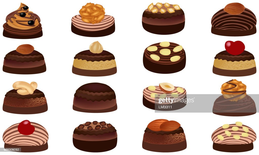Chocolate and chocolate candies with nuts. Sweet candies isolated on white background. Vector illustration of chocolates.