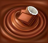 chocolate background swirl with coconut