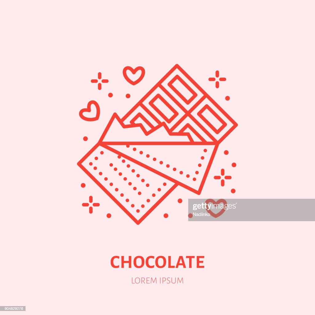 Chocolate bar illustration. Sweets flat line icon, candy shop. Valentines day present sign