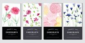 Chocolate bar packaging mock up set, watercolor style