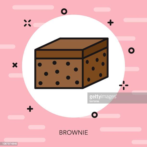 chocolate brownie thin line dessert icon - brownie stock illustrations, clip art, cartoons, & icons