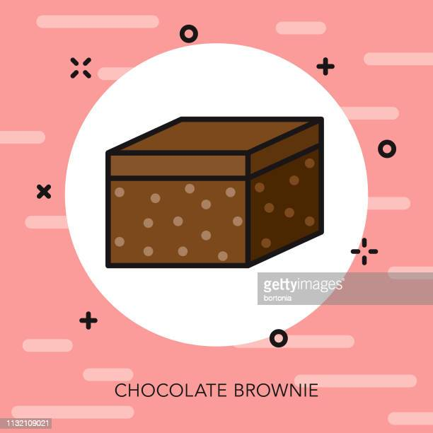 chocolate brownie thin line icon - brownie stock illustrations, clip art, cartoons, & icons