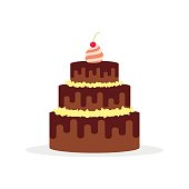 Chocolate cake for birthdays, weddings, anniversaries and other celebrations. Vector illustration of a flat design isolated on white background