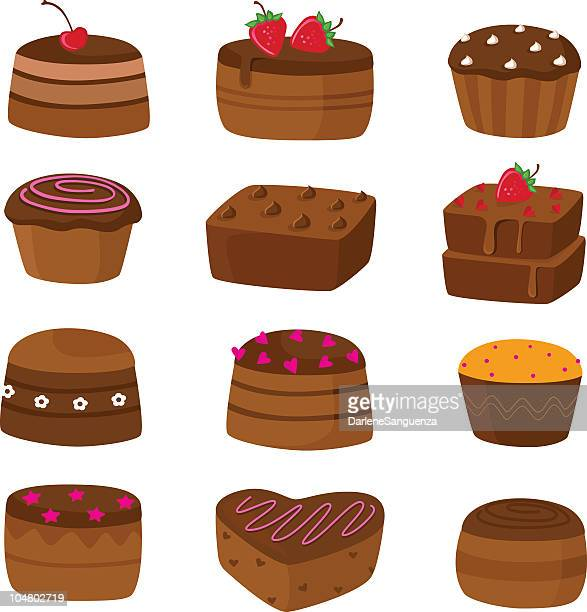 chocolate cake icons - fudge stock illustrations