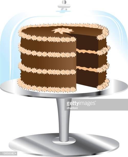 ケーキにチョコレートスタンドおよびガラス製カバー