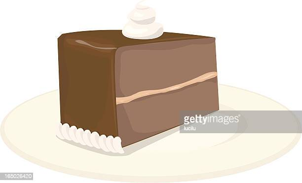 chocolate cake slice - dessert topping stock illustrations, clip art, cartoons, & icons