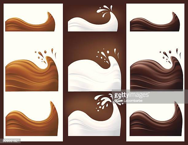 Chocolate caramel and Milk Swirls and Splash