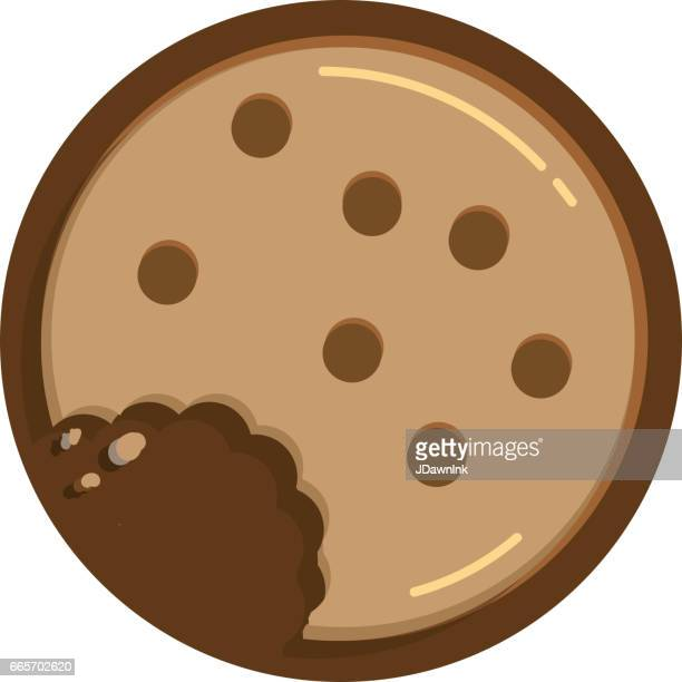 chocolate chip cookie with bite and crumbs circular shape - cookie stock illustrations, clip art, cartoons, & icons