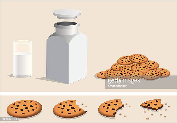 chocolate chip cookies, milk, jar, eating - cookie stock illustrations, clip art, cartoons, & icons