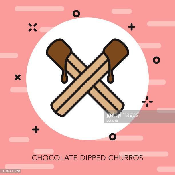 chocolate churros thin line icon - churro stock illustrations, clip art, cartoons, & icons