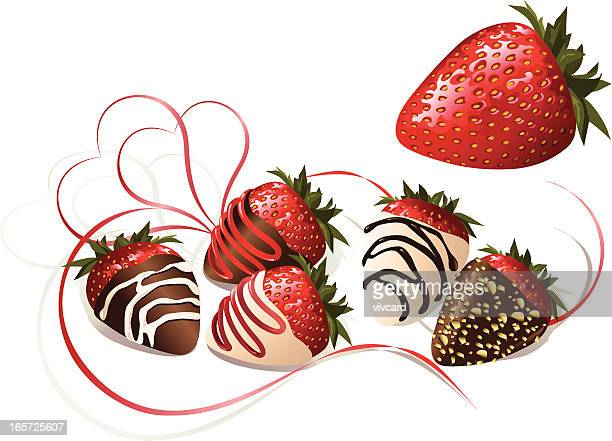 chocolate covered strawberries - chocolate dipped stock illustrations
