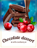 Chocolate dessert with cranberries. Vector illustration. Package design.