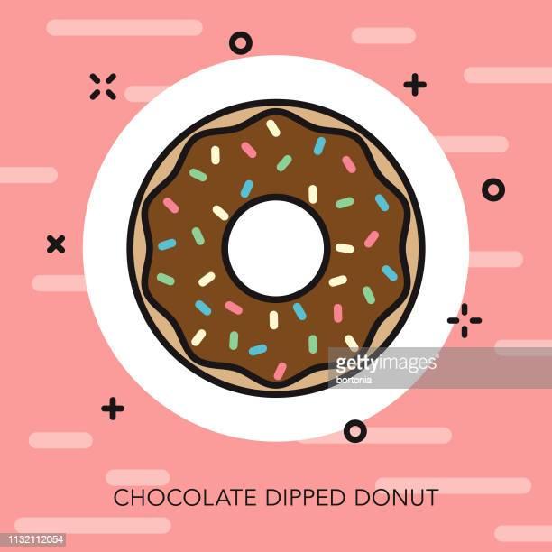ilustrações, clipart, desenhos animados e ícones de ícone mergulhado chocolate da linha fina da filhós - molho de chocolate