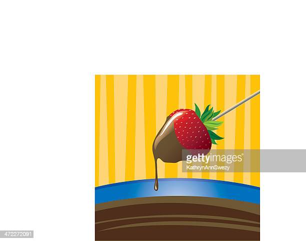 chocolate dipped strawberry - dipping stock illustrations, clip art, cartoons, & icons