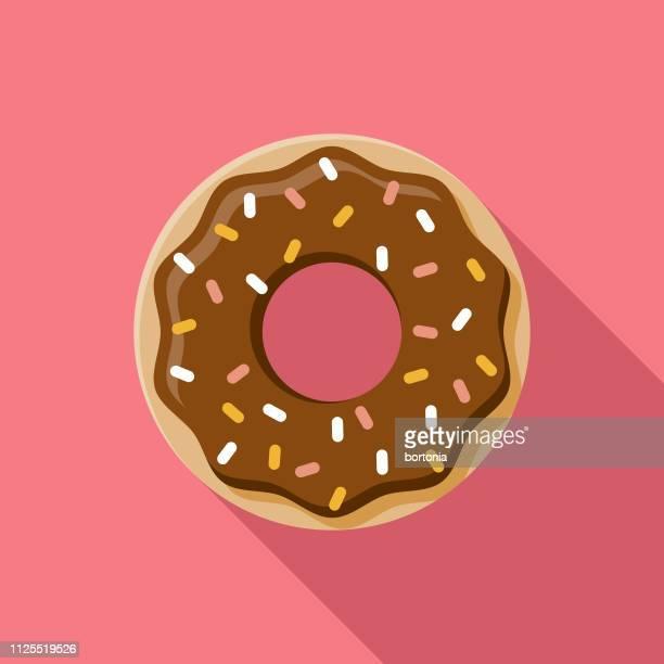 ilustrações, clipart, desenhos animados e ícones de ícone de donut de chocolate - donut