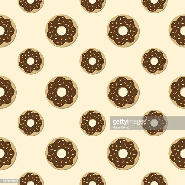 chocolate donuts seamless pattern - donut stock illustrations, clip art, cartoons, & icons