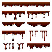 Chocolate dripped. Sweet flowing liquid food with splashes and drops caramel cacao vector realistic pictures