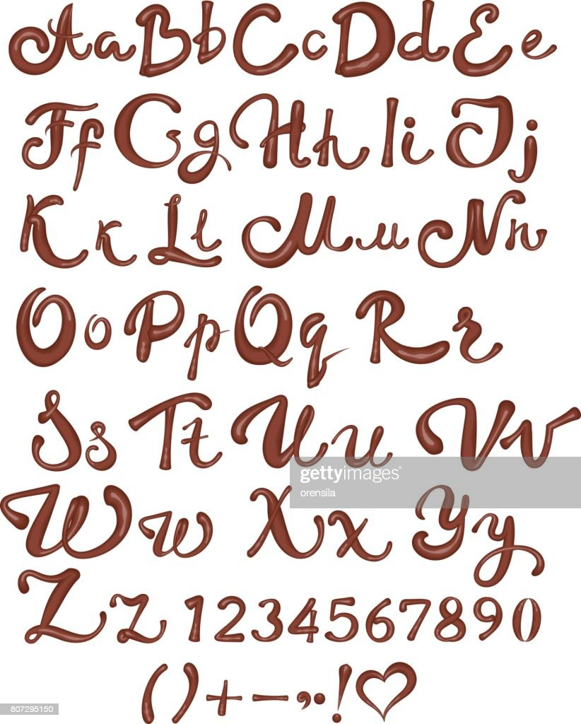 Chocolate English alphabet. Brown handwritten letters and numbers on white background