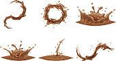 Chocolate Flowing Splash Drop Wave Whirlpool Vortex Cartoon Icon Set Isolated Design Vector Illustration