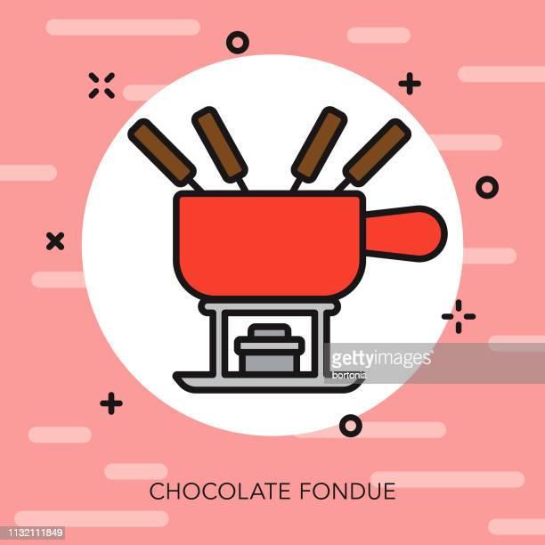 ilustrações, clipart, desenhos animados e ícones de ícone da linha fina do fondue de chocolate - molho de chocolate