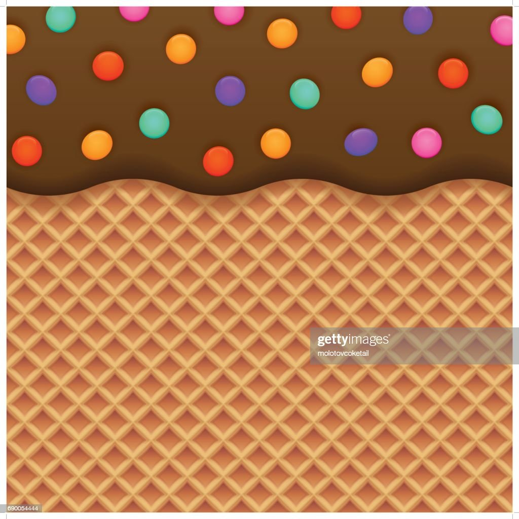 Ice Cream Cones Background Royalty Free Vector Image: Chocolate Ice Cream And Wafer Background Vector Art