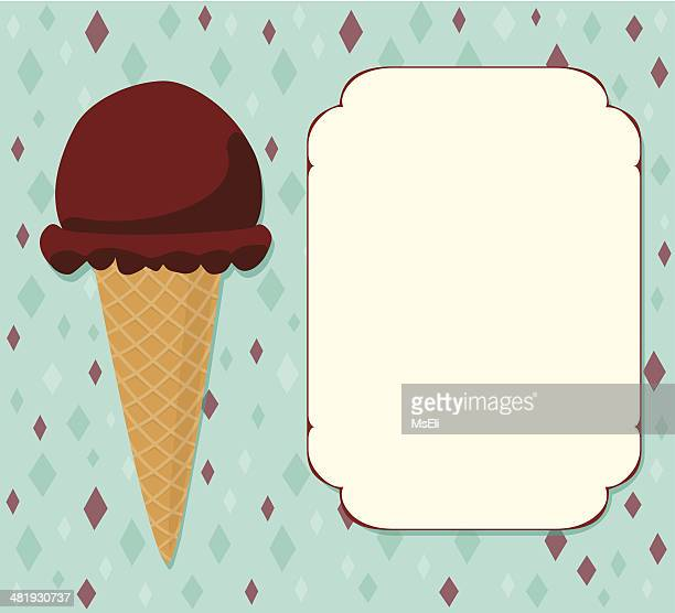 chocolate ice cream cone with placard - scoop shape stock illustrations, clip art, cartoons, & icons