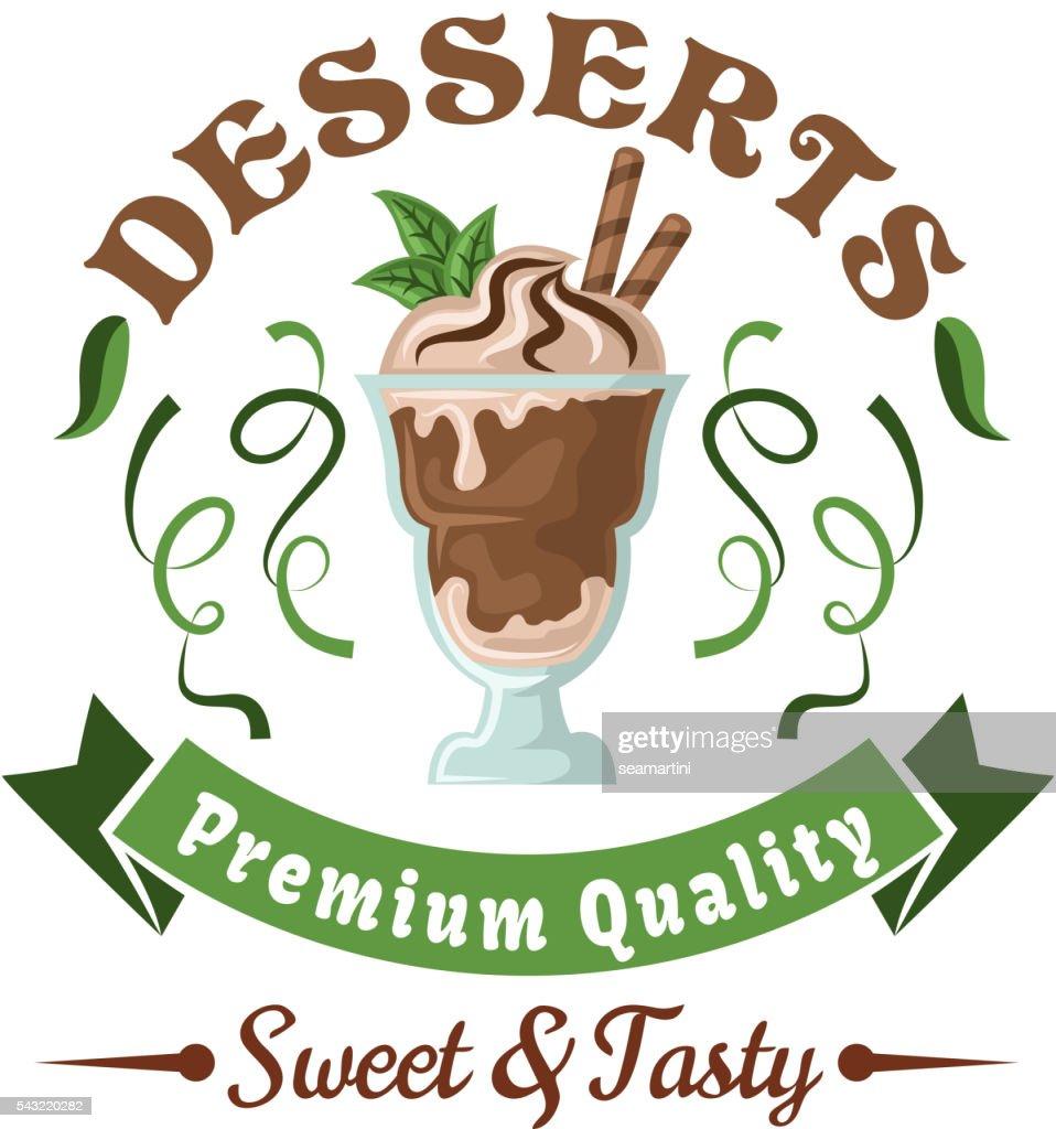 Chocolate ice cream with mint leaves retro badge