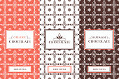 Chocolate Packaging Set - vector set of design elements and seamless pattern for chocolate packaging. Label pattern for organic and handmade cocoa package. Pattern for products, desserts, cafe, sweet-shop and candy shop.