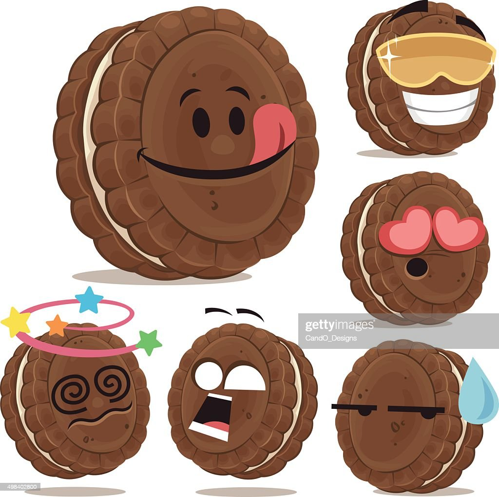 Chocolate Sandwich Cookie Cartoon Set A