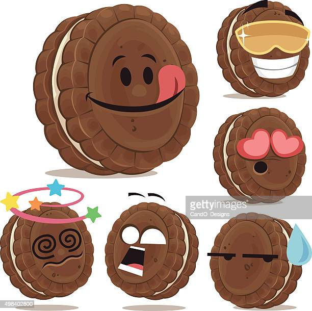 chocolate sandwich cookie cartoon set a - anthropomorphic foods stock illustrations, clip art, cartoons, & icons