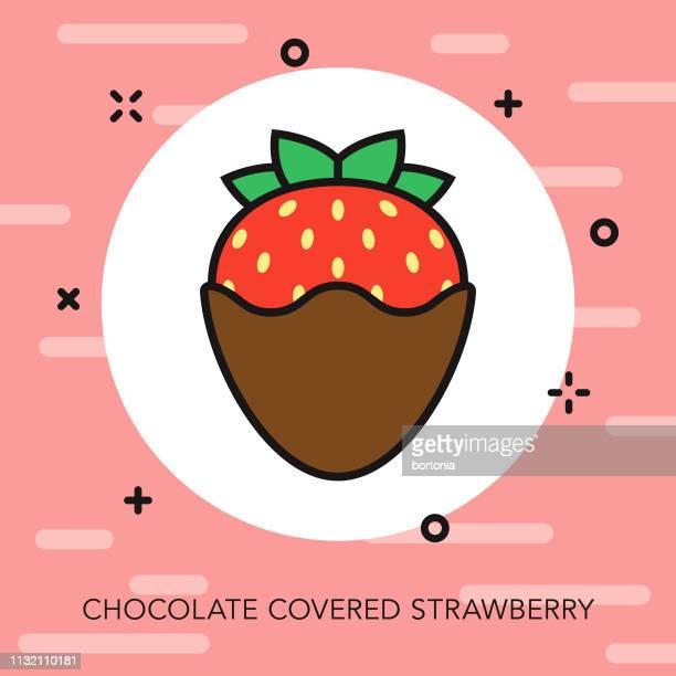 ilustrações, clipart, desenhos animados e ícones de ícone da linha fina da morango do chocolate - molho de chocolate