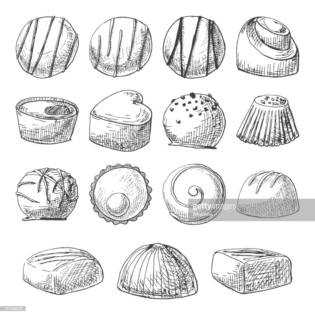 Chocolate sweets of different shapes and sizes. Hand drawn a set of chocolates. Vector illustration of a sketch style.
